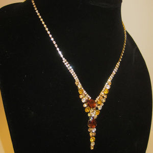 Jewelry - Crystal Necklace Dangle Drop Earrings Topaz Shades
